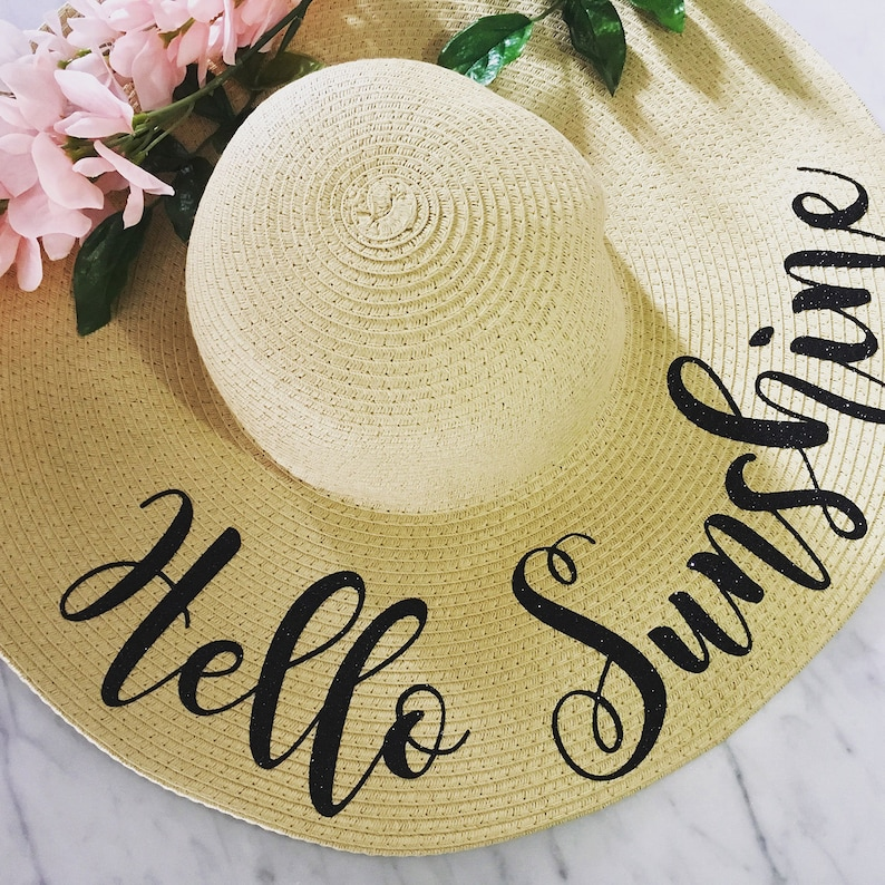 Hello Sunshine Beach Hat Floppy Sun Hat Custom Personalized  174c1b3a890