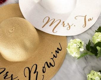 Floppy Beach Hat, Floppy Sun Hat, Bride Hat, Custom Personalized Floppy Hat, Beach Bride, Just Married Hat, Honeymoon Must Have, MANY COLORS