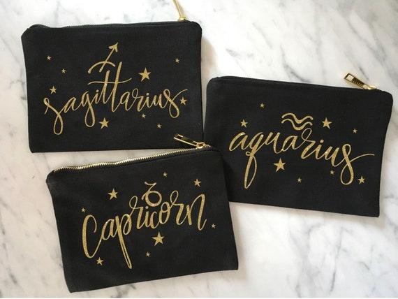 Bridesmaid Makeup Bag, Horoscope Makeup Bag, Zodiac Gift, Holiday Hostess Gift, Birthday Gift, Sagittarius Gift, Aquarius Gift, Capricorn