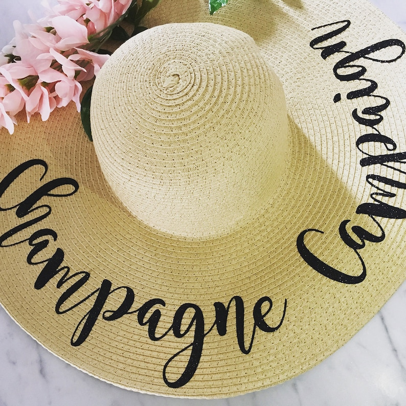 af28c158743 Champagne Campaign Beach Hat Floppy Sun Hat Personalized