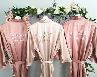 Bridesmaid robes, Maid of Honor Robe, Set of, Blush, Rose Gold, Mauve, Dusty Rose, Vintage Pink Wedding, Bridal Party Robes, MANY COLORS