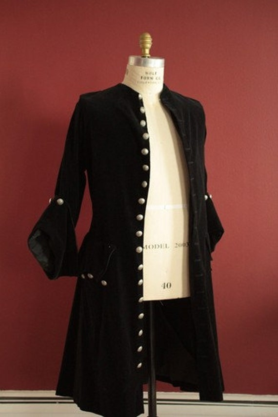 Black Velveteen Frock Coat Pirate Mens Womens Buccaneer