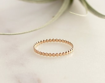 Flat Beaded Ring  - 14k Gold Filled. Thickness 1.9mm For Stacking, Layering, Tiny flat beaded Gold Filled Ring