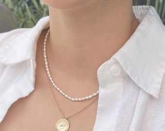 Rice Pearl Necklace - 14k Gold Filled Clasp & Extender, 3-4mm White Freshwater Natural Rice Pearl, Medium Seed Pearl