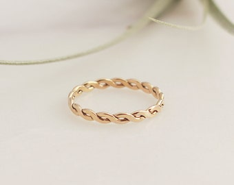 Woven Ring  - 14k Gold Filled. Thickness 2.4mm, Stacking, Layering, Woven Twisted Gold Filled Ring