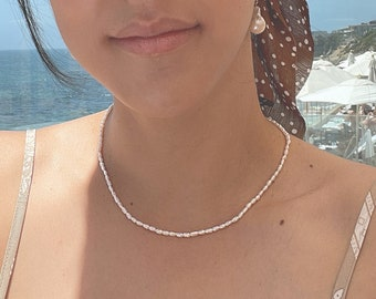 Tiny Rice Pearl Necklace - 14k Gold Filled Clasp & Extender, 2mm White Freshwater Rice Pearl, Seed Pearl
