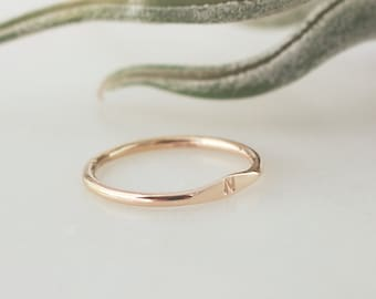 Signet Initial Ring  - 14k Gold Filled 1.5mm Thick Ring, Sans Serif Font  1mm - 1.5mm Uppercase/Lowercase, Personalized, Monogram, Stackable