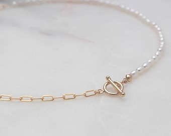 Half & Half Pearl Choker Necklace - 14k Gold Filled 3.1mm Rectangle Chain and Toggle, 3-4mm White Freshwater Pearl