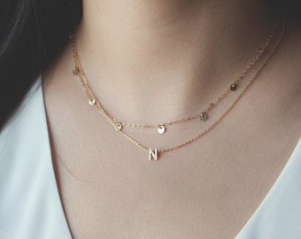 Gold Initial Block Necklace - 14k Solid Gold 6.5mm Alphabet Block, 14k Gold Filled Chain