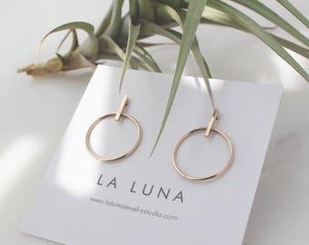 Gold Bar Circle Earrings - 14K Gold Filled, 10mm Bar, 18mm Circle