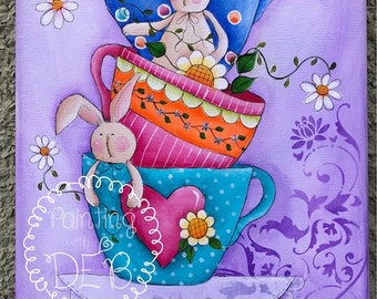 Cups o' Bunnies by Deb Antonick, email pattern packet (Inspired by Terrye French)