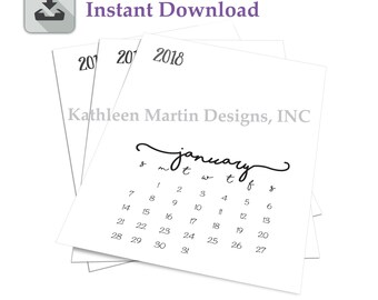 2018 Calendar pages - Instant Download