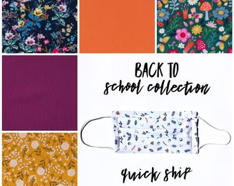 Back to School Fabric Face Mask with Filter Pocket, Pleated Face Mask, Face Protector, Washable Facemask, Filter Pocket Face Mask, Fall