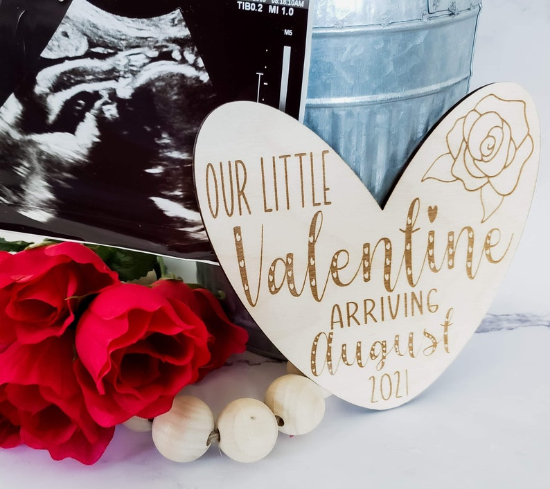 Hello World Name Sign Wooden Engraved Announcement We\u2019re Expecting Newborn Photo Prop Our Little Valentine Baby Announcement