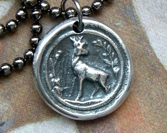 Stag necklace, Wax seal necklace, Mens necklace, For her, Deer necklace, Woodland scene, Buck necklace, Rustic, Fine + Sterling silver