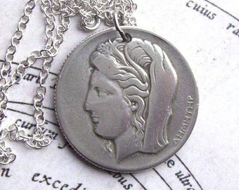 Italian Jewelry Handmade Pendant Italy Rome Ceres Goddess of agriculture fertility motherly relationship 18 Black Necklace