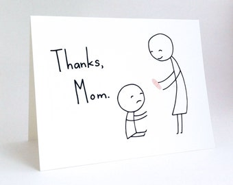 Cute Mother's Day Card // Funny Birthday Card for Mom // Humorous Thank You Card for Mother // Charming Mum Card // Thanks, Mom // Band-Aid