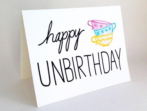 Funny Belated Birthday Card Happy Unbirthday Card Alice Etsy