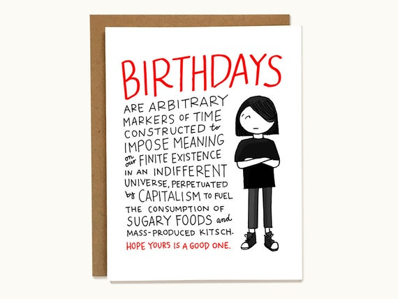 Funny Sarcastic Birthday Card For Philosophical Emo Friends Etsy