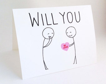 Cute Gay Valentine Card // Funny Valentines Day For Him // Love Card for Boyfriend // Gay Engagement Card // Will You Be Mine // Hug Me