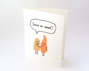 Cute Love Card // Anniversary Card // Thank You Card // Potato Card // Funny Food Card // Witty Valentine's Day Card // You're So Sweet