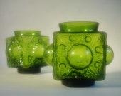 Pair of Rune Strand Bubble Glass Design Vases Candle Holders for Sea Glasbruk Sweden