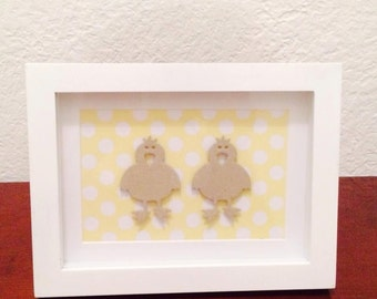 Shadow box frame - two little ducks