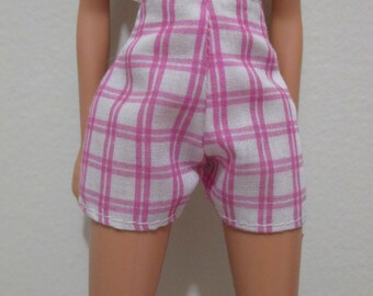 Barbie Doll Clothing Vintage pink and  white checkered shorts