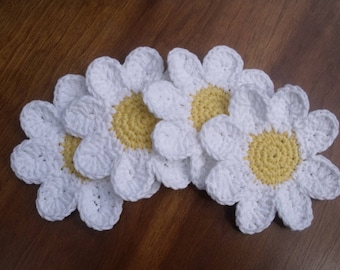 Daisy Coasters Cotton Crocheted Set of Four in Gift Package READY TO SHIP