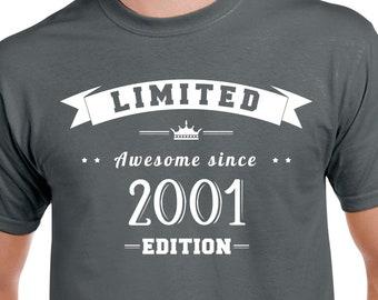 b50000426870 18ème anniversaire chemise 18e anniversaire cadeau 18 ans anniversaire 18  ans, vieille chemise tournant 18 18ème anniversaire Party chemise né 2001
