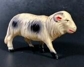 Celluloid Ram Sheep Animal Christmas Display Putz Animal Collectible Vintage 30s