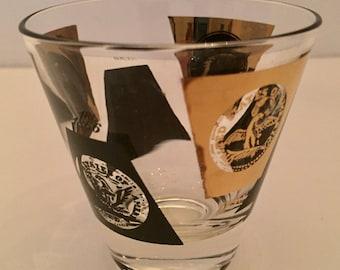 "SALE Shot Glass Ceraglass 24 kt gold Sipping Shot glass""Old Coins"" Pattern Vintage 50s-60s Excellent Vintage Condition"