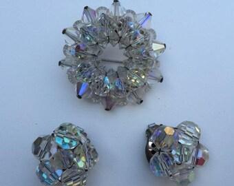 SALE Aurora Borealis Brooch Earrings 40s Crystal Bling Estate Item Vintage
