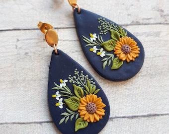 Vibrant Sunflower earrings, Clay earrings, boho polymer clay earrings, flower Statement earrings for summer, sun birthday gift for her