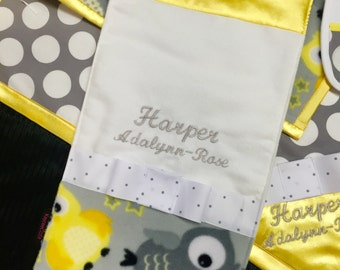 Personalized Baby Burp Cloth, Monogrammed Yellow Baby Burp Cloth, Gender neutral Burp Cloth, Grey Yellow Owl Fabric, Baby Shower Gift,