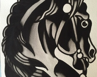 Horse Flash Tattoo Etsy