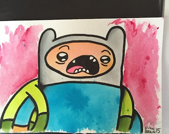 Finn from adventure time original watercolor painting/6x9 inches/adventure time fan art