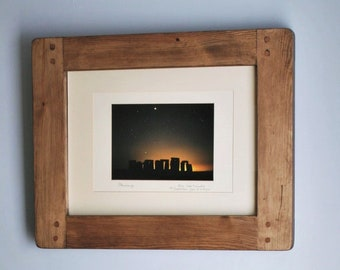 wooden frame for photo & picture A3 image, sustainable modern rustic natural wood dark frame, portrait / landscape, custom handmade in UK