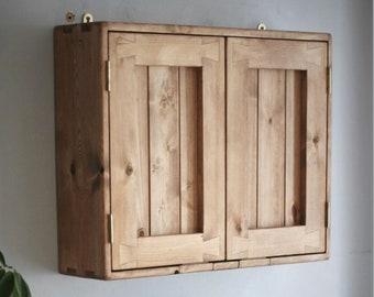 Bathroom cabinet, double wooden door cupboard, large over sink medicine cabinet, 3 shelves, rustic farmhouse, custom handmade in Somerset UK