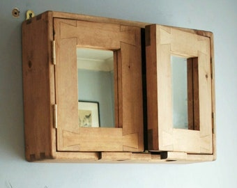 wooden bathroom mirror cabinet, modern rustic cottage, 40 H x 60 W x 14 D cm, double doors, 2 shelves, natural wood, made in Somerset UK