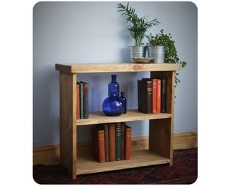 Low wooden bookshelf, small office bookcase shelves 65W x 60H x 29D cm in sustainable natural light wood, rustic, handmade in Somerset UK