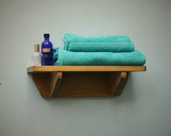 small wooden wall shelf for bathroom storage, 44 cm long x 15 cm deep in natural wood, industrial, rustic, custom handmade in Somerset UK