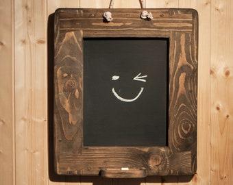 chalkboard, blackboard in rustic farmhouse kitchen style, chunky wooden frame memo board in sustainable wood, custom handmade in Somerset UK