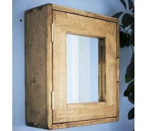 Bathroom cabinet, rustic wooden mirror door medicine wall mounted cabinet, natural wood over sink vanity, 43.5H x 38.5W x14D cm, Somerset UK