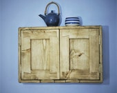 wooden kitchen wall cabinet, modern rustic farmhouse style, 2 doors, 2 shelves, eco friendly wood - custom sizes - handmade in Somerset UK