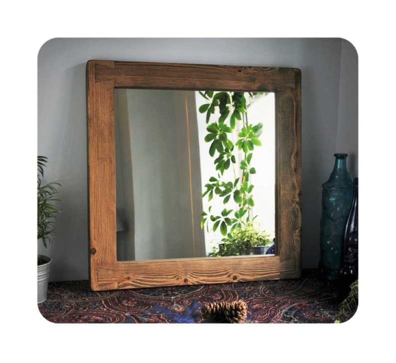 wooden wall mirror dark wood frame natural sustainable wood image 0