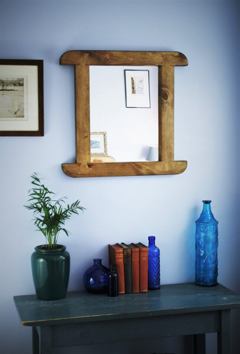 rustic farmhouse wooden wall mirror curved natural wood thick image 0