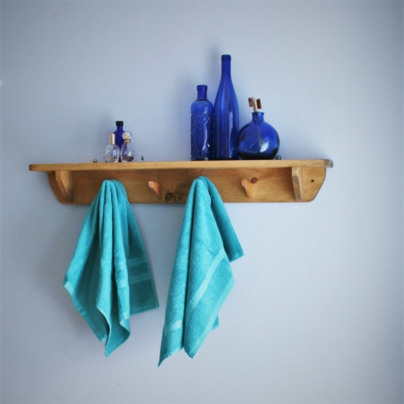 wooden bathroom wall shelf with hooks 90 cm long 4 wooden image 0