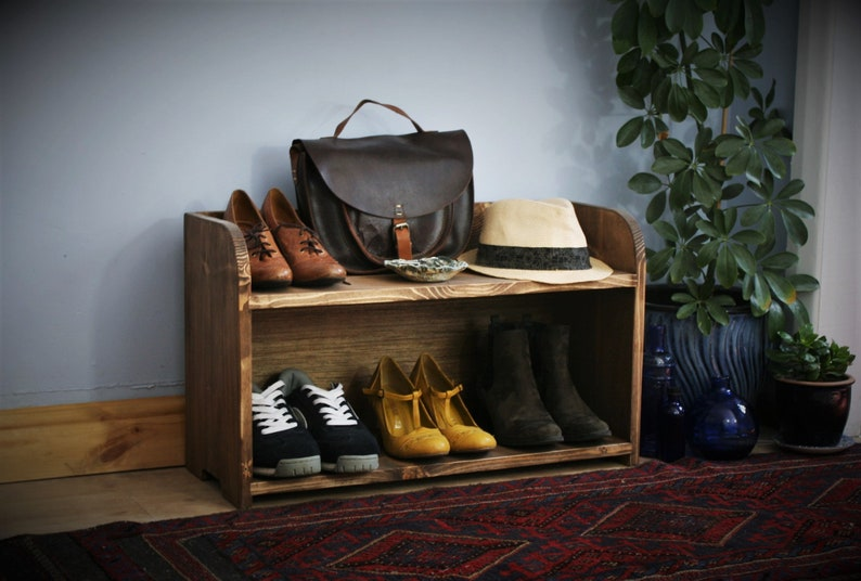 chunky wooden shoe rack & shoe bench 70 wide x 42 H x 27 deep image 0