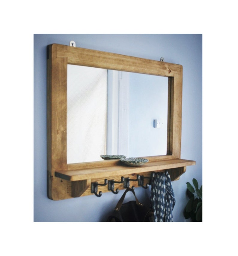 large mirror with shelf & 5 iron hooks wide wooden frame image 0
